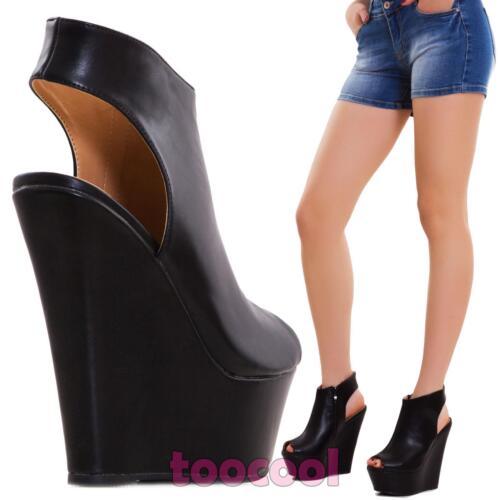 Cuir Compensé Femme K1z826 Neuf Écologique Bottes Chaussures Sandales 46 Talons qxSUwqE5