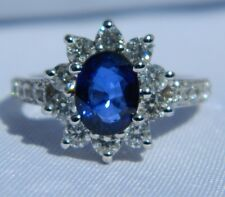 14K White Gold 2.5 Carat Sapphire w 1 Carat of Diamonds NEW Ring Appraisal $7850