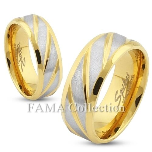 Stylish FAMA 8mm Diagonal Striped Gold IP Stainless Steel Ring Band Size 10-13