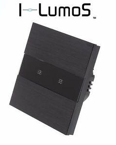 I LumoS Luxury Black Brushed Aluminium Panel Touch On/Off LED Light Switches