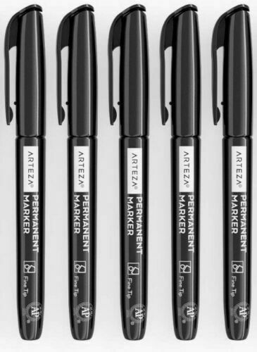 Arteza Markers Pack of 5 Permanent Black Fine Tip Bullet Point Pens UK Stock