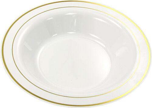 """20 x MOZAIK profonde en plastique jetable Bols Blanc Avec Gold Rim 9/"""" 23 cm pâtes soupe"""
