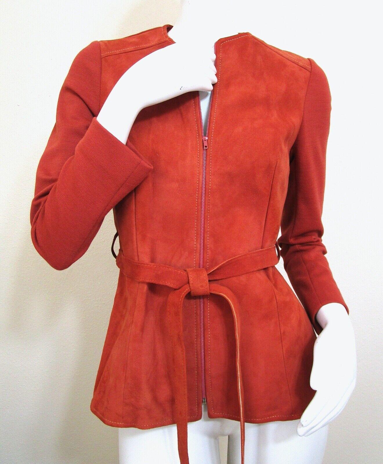 Vintage 70s Mod Orange PSI Leather Process Suede … - image 4