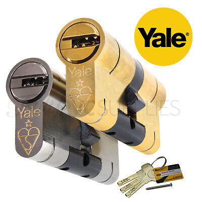 Drill Bump Pull High Security uPVC Composite Door Barrel Profile Lock Pair of 50//50 Nickel Yale Superior Keyed-Alike Euro Cylinders with 6 Keys Anti Snap Pick