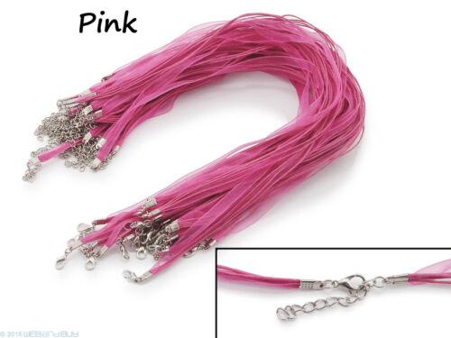 Pink * 5 x Halskette Organzaband Schleifenband Schmuckband Kette Farbe
