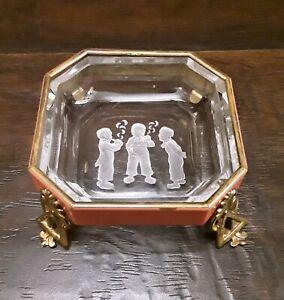 Antique Floral Victorian Bride Basket Glass Intaglio Salt