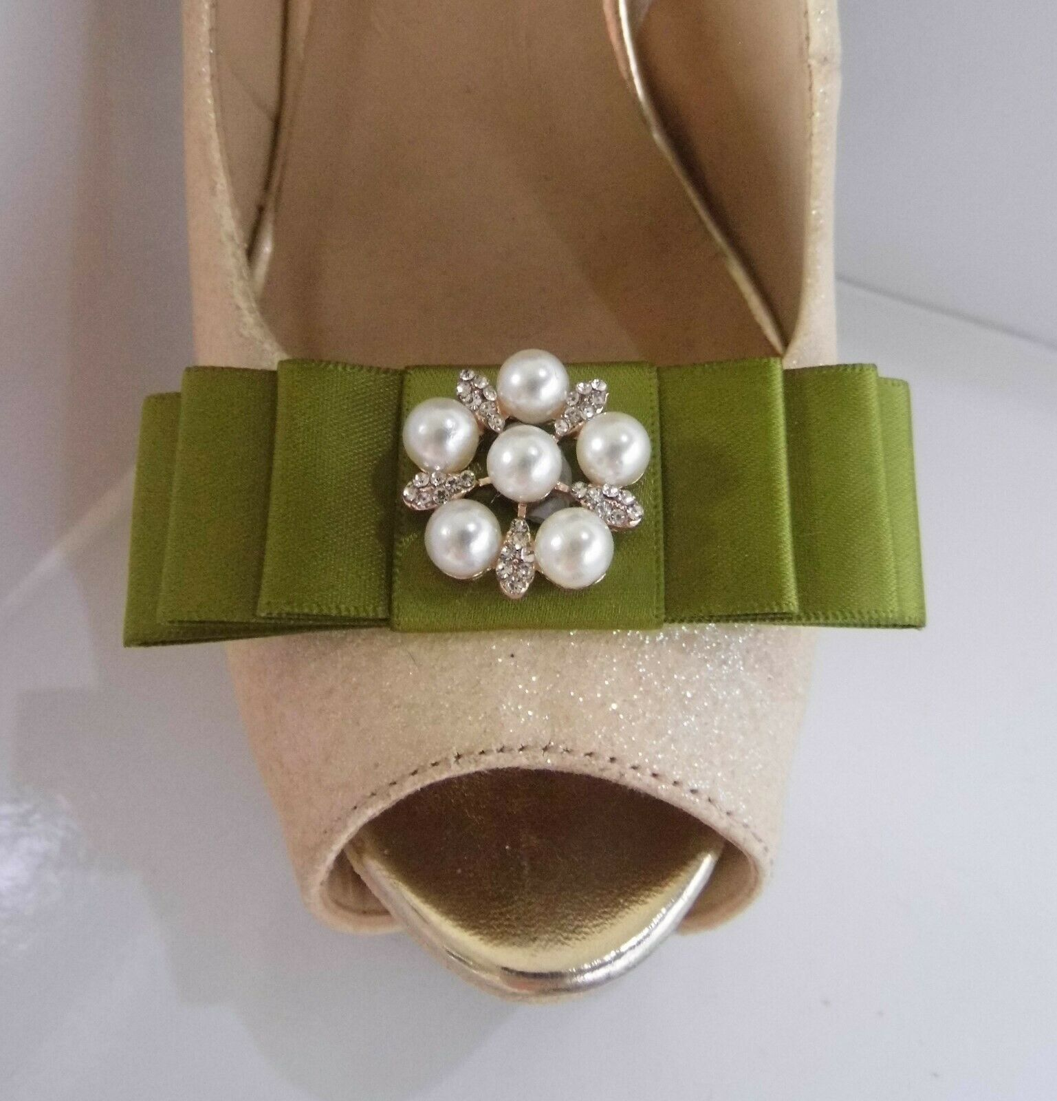 2 Moss Green Bow Clips for Shoes with Pearl & Diamante Clustered Centre