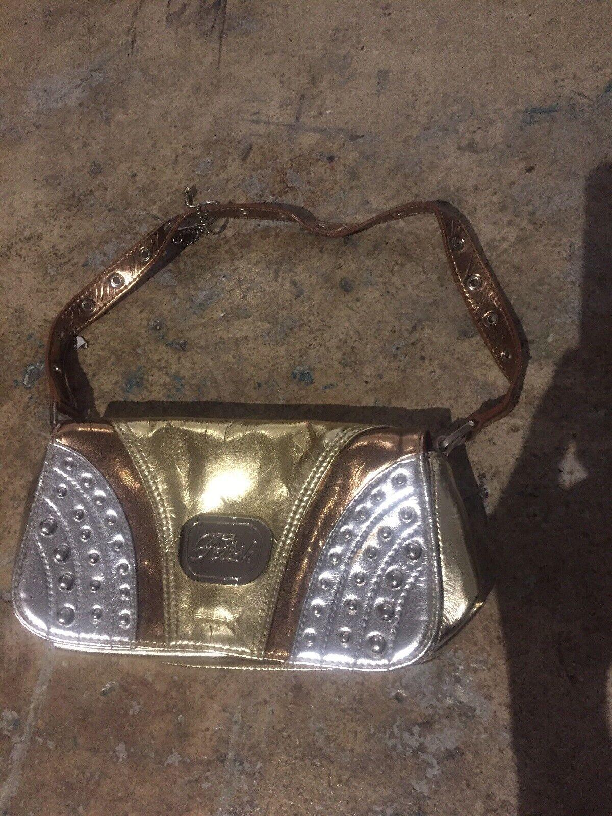 Fetish Clutch Bag Purse gold silver studs cooper … - image 1