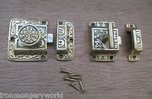 SOLID-BRASS-ORNATE-FANCY-DECORATIVE-CUPBOARD-CABINET-DOOR-CATCH-THUMBTURN-LOCK