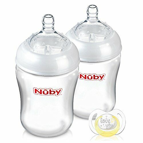 NUBY NATURAL TOUCH biberons avec Free Anneau de dentition pack de 2
