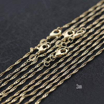 Lots 1/5pcs Silver/Gold Plated 2mm Water Wave Chain Pendant Necklace 16-24inch