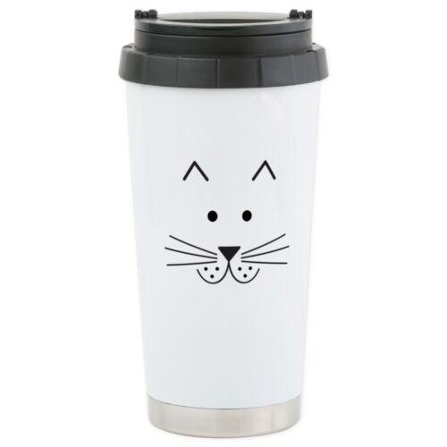 CafePress Cartoon Cat Face Stainless Steel Travel Mug Stainless Mug 508520474