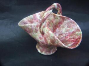 Vintage-Australian-Pates-Pottery-Mottled-Pink-Large-Basket-w-Handle-1940-039-s-VGC