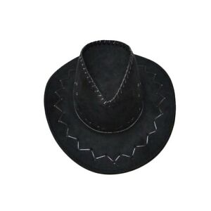a52353c6bb9 NEW UNISEX BLACK COWBOY HAT FANCY DRESS COWBOY ADULT SUEDE LOOK WILD ...