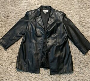 Preston-amp-York-Leather-Jacket-Black-Womens-Size-PL-petite-large-EUC