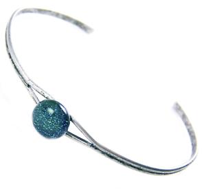 Dichroic-Cuff-Bracelet-ADJUSTABLE-Green-Teal-Verdigris-Fused-GLASS-Tiny-1-4-034-8mm