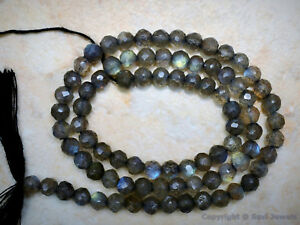 LABRADORITE-Fire-4-4-5mm-ROUND-FACETED-Gemstone-Beads-14-034-Strand-Great-Quality