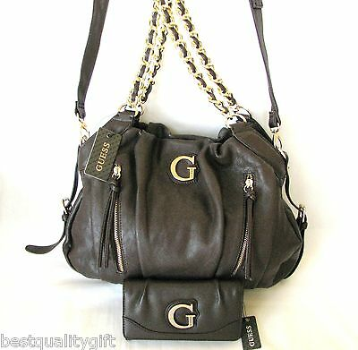 NEW 2PC SET GUESS CELESTE BROWN LEATHERETTE+GOLD CHAIN CROSSBODY,HAND BAG+WALLET
