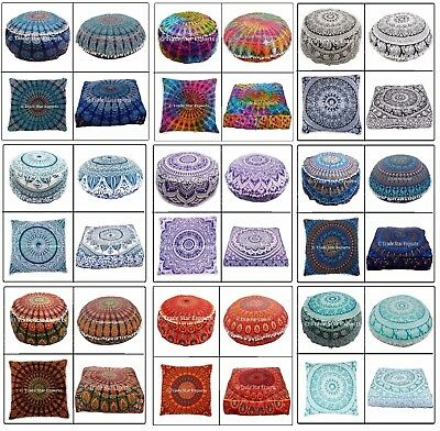 Combo Of Indian Mandala Euro Sham Cushion Cover,Floor Pillow Cases,Ottoman Pouf