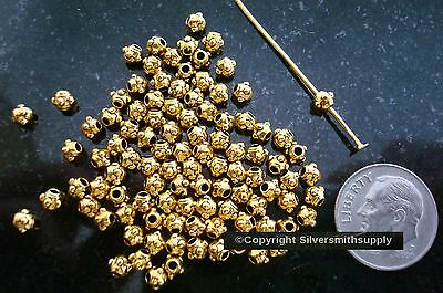 100 4mm Granulation Yellow gold plated metal spacer beads jewelry beading fpb094