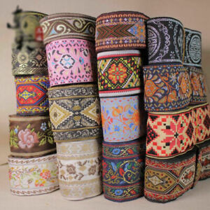 Vintage-Jacquard-Ribbon-Silk-Braid-Embroidery-Trim-Woven-Border-Home-Decor-Craft
