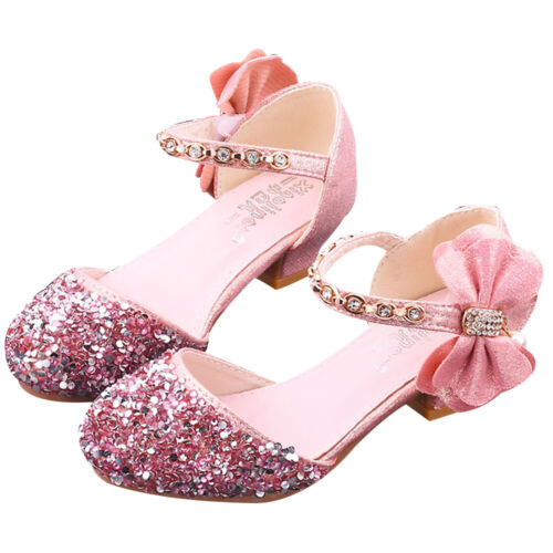 Toddler Kids Girls Sequin Princess Mary Jane Shoes Wedding Party Sandals Size UK