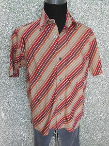 180 277 SIGNUM Freizeit Hemd Gr. M beige rot rost braun Kurzarm ... d13f016e8a