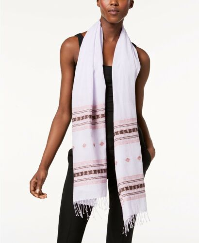 $158 Eileen Fisher Wisteria Printed Organic Cotton Scarf
