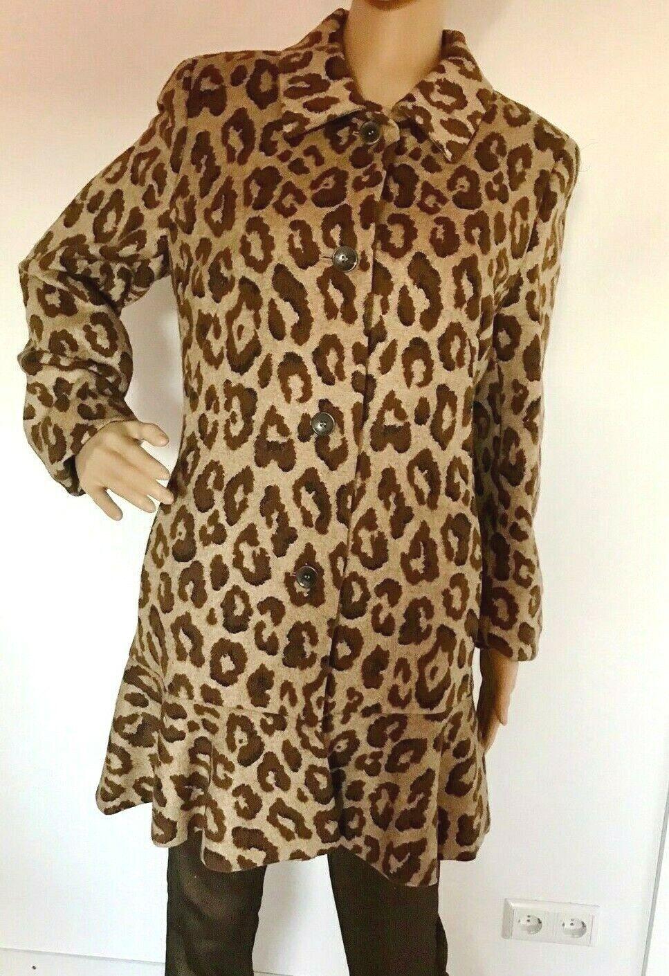 Escada lujo lana & seda  Mix abrigo animal print talla 40  contador genuino
