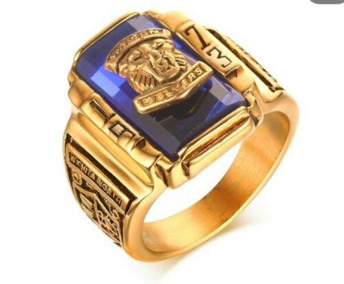 USA Repro COLLEGE RING Edelstahl goldfarbig Highschool Tiger Walton Footballring