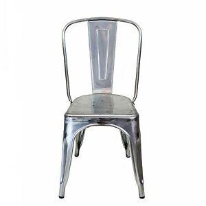 Bastille Tolix Style Indoor / Outdoor Patio Dining Side Chair in Gun Metal SS
