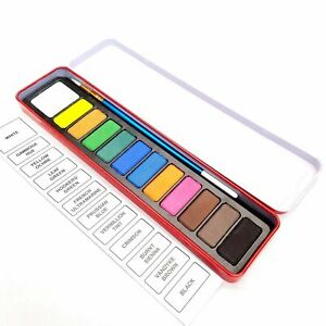 12-Set-Artist-Watercolour-Paint-amp-Brush-Assorted-Colours-In-Red-Metal-Tin-Case