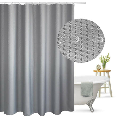 "Grey Tektrum 36""x72"" Waffle Jacquard Shower Curtain Waterproof Antibacterial"