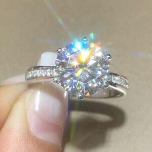3.30 Ct Round Moissanite Wedding Ring 14K Hallmarked Solid White Gold Size 5 6.5