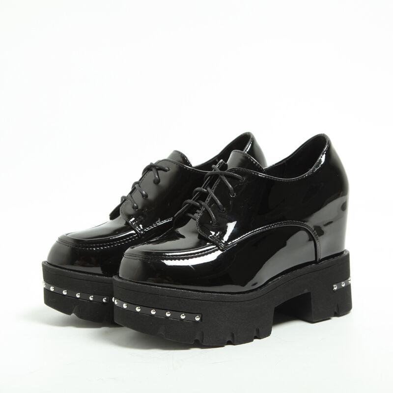 Women platform retro shiny leather punk rivet british pumps ankle boot shoes new
