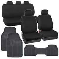 Car Seat Covers Black 5 Headrests Auto Rubber Floor Mats Full Interior Kit on sale