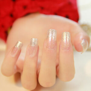 Image Is Loading 24pcs Por Glitter Acrylic Nails Square Full French