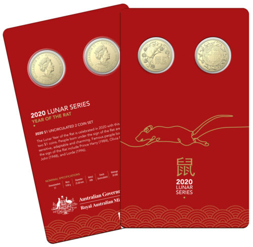 2020 Lunar Year of the Rat $1 AlBr Uncirculated Two Coin Set