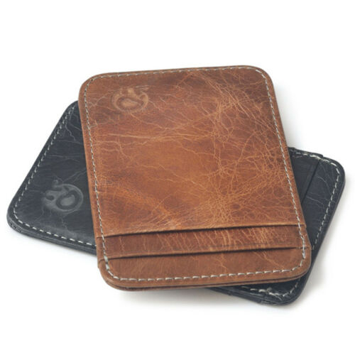 Genuine Cow Leather Men Wallet Slim Money Clip Thin ID Credit Card Holder Wallet