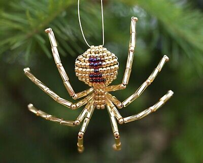 Garnet Red with Christmas Spider Legend Christmas Spider Ornament