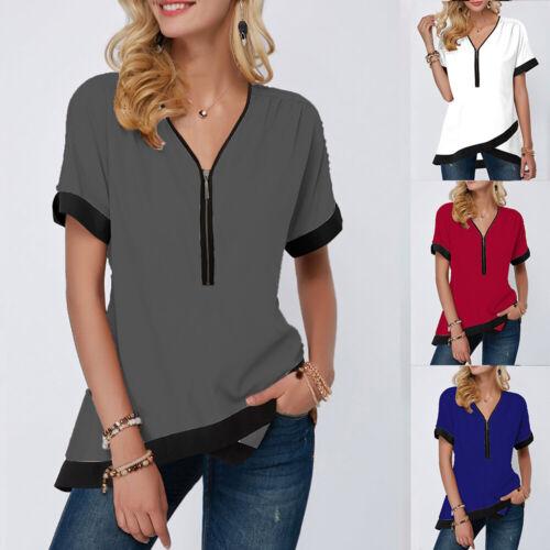 Oberteil Damen Sommer Kurzarmshirts Bluse Tunika T-Shirt V-Ausschnitt Tops Shirt