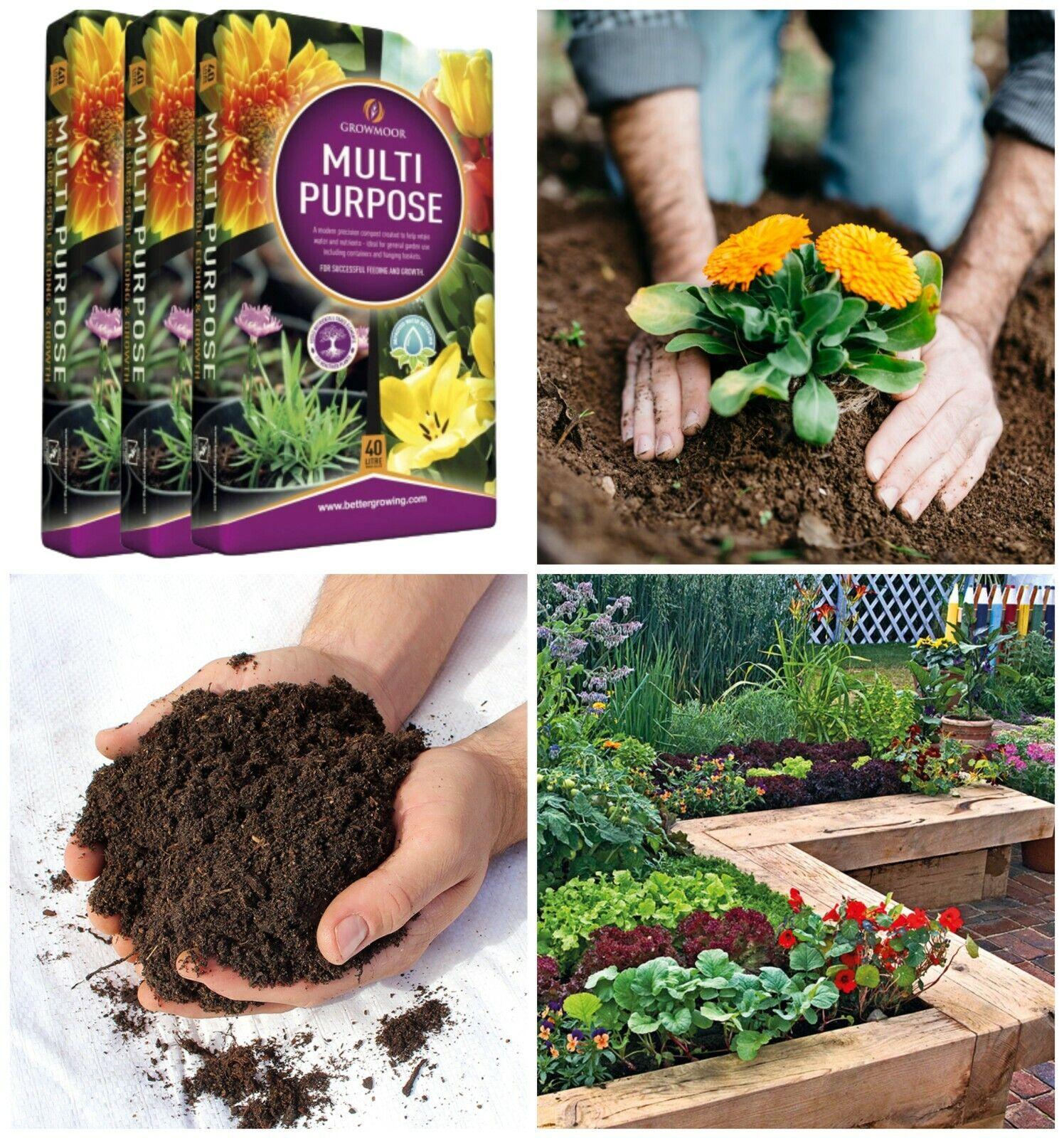 3x 40L Growmoor Plant Care Pot Flower Compost Basket Enriched Soil Bed Borders