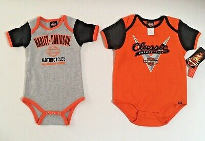 Harley Davidson Logo Infant Short Sleeve Bodysuit Jumpsuit