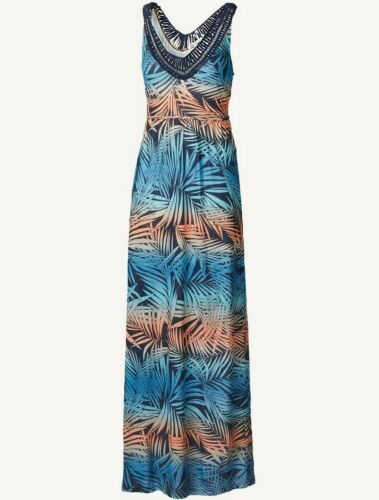 BNWT Women/'s Size 16 Anderby Ombre Palm Maxi Fat Face Blue//Multi