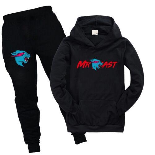 Mr Beast Lightning Cat Kids Pocket Hoodies Hooded+Pants Trousers 2PCS Outfit Set