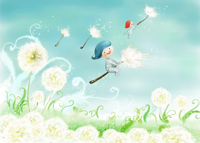 3D Riding Dandelion Kid Wall Paper wall Print Decal Wall Deco Wall Indoor Murals