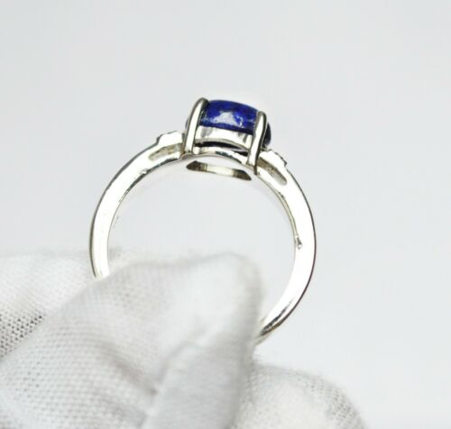 925 Sterling Silver Certified 3 Ct Lapis Lazuli Handmade Stakble Ring For Unisex