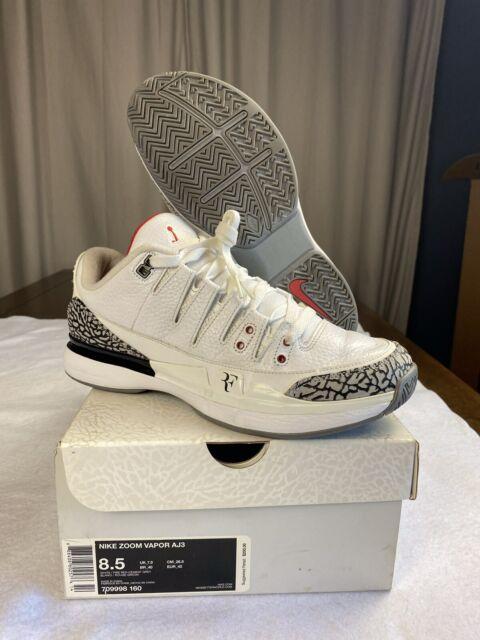 Resistencia Sindicato tortura  Nike Zoom Vapor Aj3 RF Black Cement Roger Federer X Jordan Size 10 for sale  online | eBay