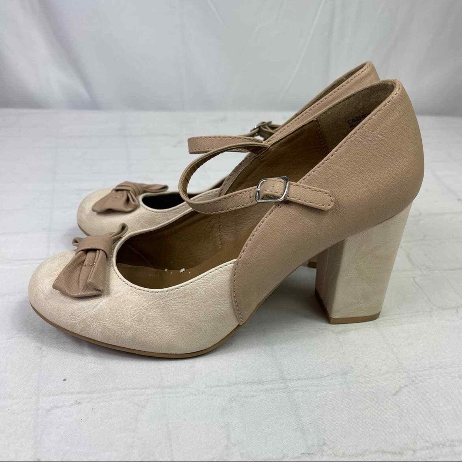 Jelly pop nude bow Mary Jane pumps - image 2
