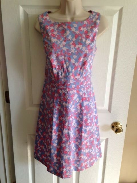 BROOKS BredHERS bluee Pink Floral Sleeveless Dress, Petite 10P